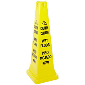 Rubbermaid Four sided caution wet Floor Safety Cone yellow 627677 New