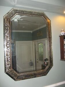 Antique French Glomis Reverse Painted Large Mirror Crystal Framed 49 X 37