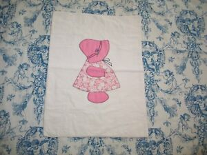Charming Vintage Applique Doll Quilt Sun Bonnet Sue Doll Quilt Hand Embroidery