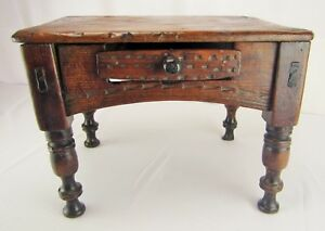 Antique Primitive Spanish Colonial Foot Stool Or Low Table Writing Desk 18th C