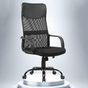 Black Office Chair Modern Ventilated Fabric Mesh High Back Task Computer Desk