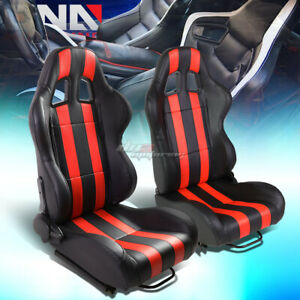 Black red Dual Stripes Reclinable Pvc Type r Racing Seats W universal Slider