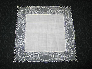 Vtg Antique Needle Run Embroidery Net Lace Handkerchief Hanky Bridal 1 Of 3 Nos