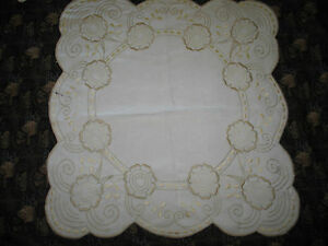 Antique Royal Society Silk Arts Crafts Flowers Linen Hand Embroidery