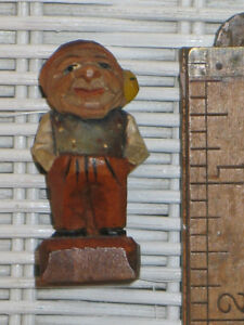 Antique C1938 German Bavarian Black Forest Carved Painted Wood Gnome 1 75