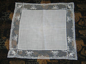 Vtg Antique Needle Run Floral Embroidery Net Lace Handkerchief Hanky Bridal
