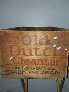 Vintage Old Dutch Cleanser Cudahy Soap Works Usa Wooden Box Crate