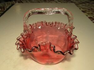 Vtg Old Cranberry Crimped Top Edge Hand Blown Art Glass Basket W Clear Handle