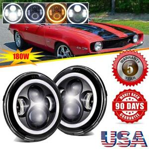 7 Round Led Headlights Pair Projector Hi Lo Drl H4 For Chevrolet Camaro