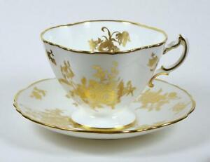 Vintage Bone China Tea Cup Gold Roses On White Gold Trim 1939 Hammersley 6oz