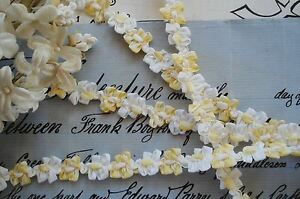 1y Vintage French Ombre Yellow Rococo Rosette Flower Ribbon Work Trim Doll Bear