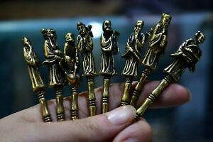 Antique Rare Collectible Chinese Old Brass Handwork 8 Immortals Medicine Spoon