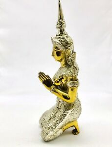 Chinese Tibetan Antique Gold Silver Gilt Bronze Buddha Statue Kneel In Prayer