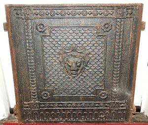 Antique 1800s Cast Iron Fireplace Fire Back Panel Decorative With Lion 39 Lbs