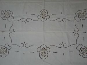 Exquisite Antique Figural Italian Tablecloth Point De Venise Lace Embroidery
