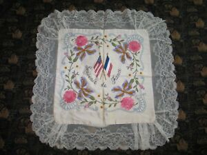 Pillow Sham French American Flags Ww1 Antique Vintage French Boudoir Lace
