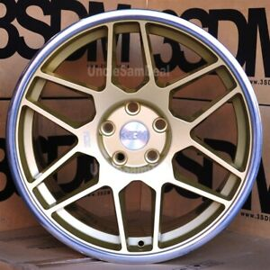 18 18x8 5 5x112 Et42 3sdm 0 09 Gold 12 Mesh Spokes Silver Lip Tuner Wheels Set