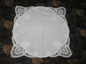 Exquisite Antique Vtg Princess Tape Lace Hanky Wedding Bridal Handkerchief