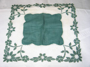 Unique Antique Vtg Applique Needle Run Lace Hanky Wedding Handkerchief Green