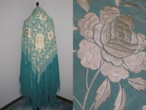 Exceptional Xl Piano Shawl Antique 1900 1920s Turquoise Silk Hand Embroidery
