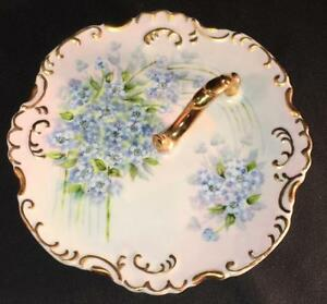 Vintage Gold Trimmed Hand Painted Flower Signed Dated Nappy Dish Card Holder