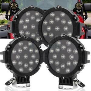 Lot4 7 51w Round Led Work Lights Spot For Offroad Boat Atv Suv Truck Lamps