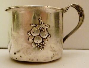 Antique Webster Sterling Silver Baby Infant Cup Repousse Fruit Design Monogram