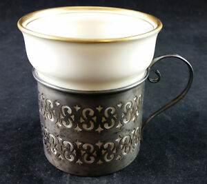 Early 1900s John Hasselbring Sterling Silver Demitasse Cup With Lenox Liner