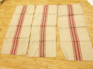 Lot Of 3 Vtg Antique Rose Pink Stripe Hemp Linen Feed Sack Grain Bags 19x48