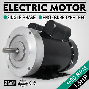 Electric Motor 1 5hp 56c 1 Phase Tefc 3600rpm Machinery Waterproof Cw ccw