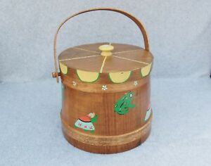 Wood Firkin Bucket Folk Art Painted Frog Swing Handle Finger Band Box Primitive