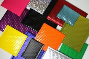 000 Matte Metallic Colorful Poly High Bubble Mailers Envelopes 4x8 inner 4x7