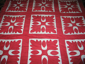 Antique Late 1800s Hand Applique Quilted Quilt Oak Leaf Red White