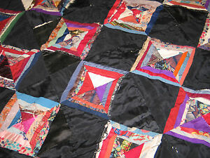 Antique C1800s Crazy String Quilt Vintage Silk Brocade Velvet Crib