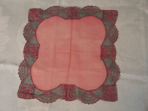 Unique Art Deco Vtg Antique Needle Run Embroidery Net Lace Handkerchief Hanky