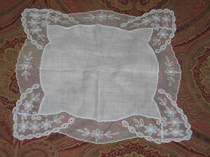 Elegant Vtg Antique Needlerun Embroidery Net Lace Handkerchief Hanky Bridal