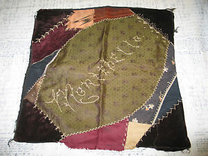 Antique Hand Pieced Embroidered Crazy Quilt C1900s Pillow Tapestry Montebello