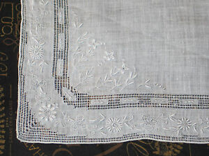 Antique Embroidered Lace Madeira Linen Bridal Wedding Handkerchief Hanky
