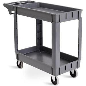 Costway Plastic Utility Service Cart 550 Lbs Capacity 2 Shelves Rolling 39 X 1