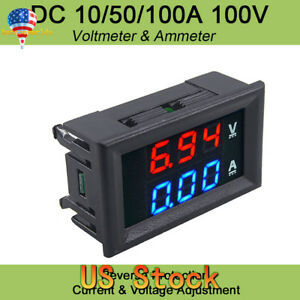 Mini Dc 100v 10a Digital Voltmeter Ammeter Blue Red Led Volt Amp Meter Gauge Usa