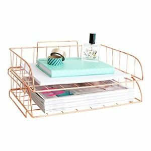 Blu Monaco Rose Gold Desk Organizer Stackable Paper Tray Set Of 2 Metal Wire T