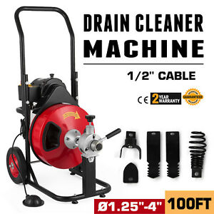 100ft 1 2 Drain Cleaner Sewer Snake Drain Auger Cleaner 4 Cutter Foot Switch