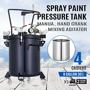 Spray Paint Pressure Pot Agitator Roll Caster Manual 1 4 Air Outlet Commercial