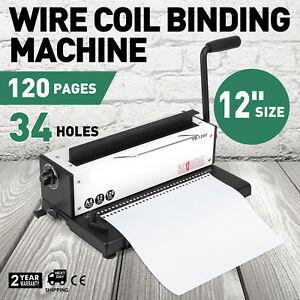 All Steel Manual Spiral Coil Binding Machine 34 Holes Puncher Office Handle