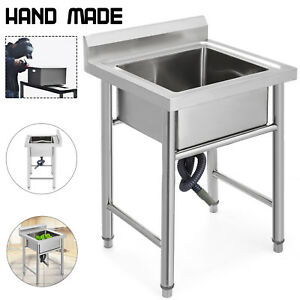 23 5 x24 one Compartment Handmade Prep Sink Apron Square Stainless Steel