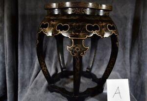 Vintage Chinese Cloisonne Stool Table Enamel Bird Floral Black Lacquer Wooden