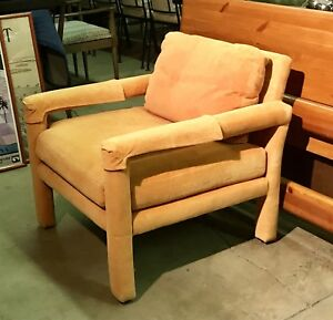 Vintage Retro Orange Modern Upholstered Chair By Drexel