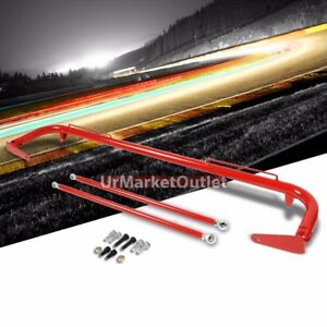 Red Mild Steel 49 Racing Safety Chassis Seat Belt Harness Bar Across Tie Rod