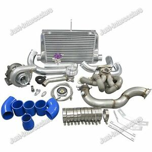 T3 T04e Turbo Top Mount Turbo Kit For Toyota Corolla Ae86 4age Engine Blue