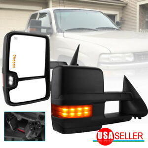 Fit For 99 02 Silverado Sierra Truck Tow Mirrors Power Heat Signal Backup Lights